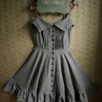 Pleated front linen sundress with circle skirt, pleated ruffle and wooden buttons- custom made to your measurements