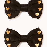 Heart Bow Hair Clips | FOREVER 21 - 1055689640