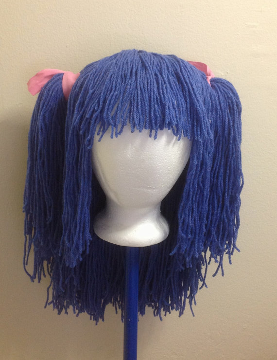 Handmade Crochet yarn Hair wig,women, baby, kids, blue hair, wig, blue ...