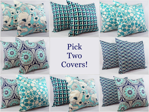 Navy And Teal Throw Pillows: Pick Your Own Navy And Teal Pillow Covers From