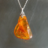 Cognac amber pendant on silver chain
