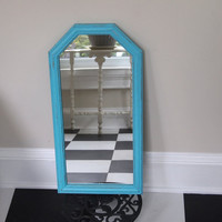 Mirror Vintage Large Wood Framed Hexagon Shaped Painted Turquoise And Distressed Cottage Chic Home Wall Decor