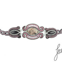 Exceptional bracelet  with rhodonite, white, salmon, gray