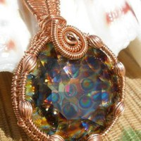 Swarovski Peacock crystal copper wire wrapped large by catinalife