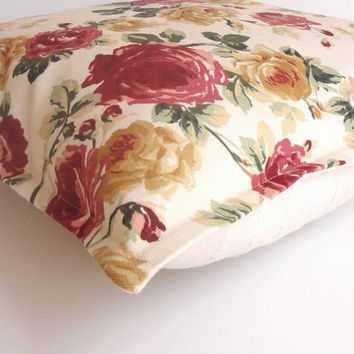cute floral print Pillow Cover , 16x16 inch ,decorative pillow, pillow cover, cushion cover, home rose print fabric and buldan cotton fabric