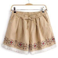Bohemian Embroidery Lace Bottom Loose Shorts
