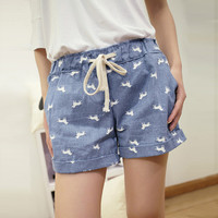 Dogs Print Casual Denim Shorts