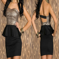 Black Sequined Strapless Lace Dress