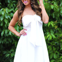 Innocent Forever Bow Dress: Blush/White | Hope's