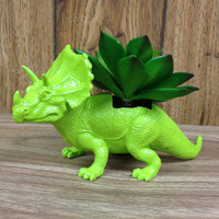Up-cycled Lime Green Triceratops Planter