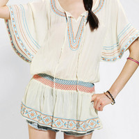 Angie Embroidered Flutter-Sleeve Top