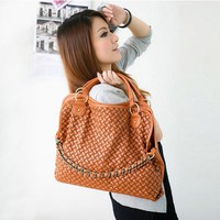 Askformore Korean style Lady PU leather handbag shoulder bag brown