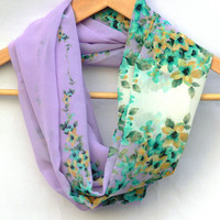 Floral Infinity Scarf. Multicolor Circle Scarf. Loop Scarf. Women Accessories