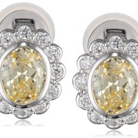 Sterling Silver Yellow and White Simulated Diamond Floral Omega Clip Earrings