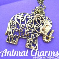 Large Floral Elephant Animal Charm Necklace in Bronze