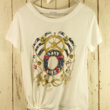 Navy Breeze Print T-shirt - T-Shirt - Tops - Retro, Indie and Unique Fashion