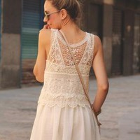 Cream Floral Crochet Dress with Chiffon Pleat Skirt