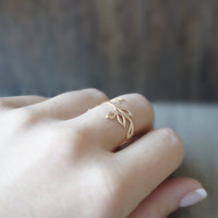 Little Twig Ring  ( in gold )  //  Branch Ring