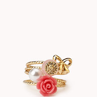 Pearlescent Rosette Ring Set