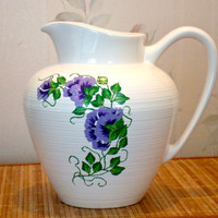 White Ceramic Pitcher With Painted Sweetpeas