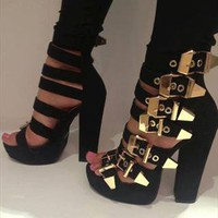 Donata Suede Platform Sandals with Gold Buckles from TheFashionBank