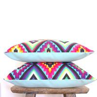 "TWO x EXOTIC KISS med cushion covers bright neon aztec throw pillows 45cm x 45cm or 18"" x 18"""
