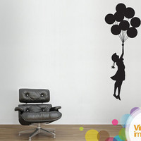Banksy Girl Floating Balloon Wall Stickers by Vinylimpression