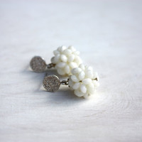 Off white earrings berries - sterling silver disc  - post earrings