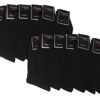 Knocker Mens Plain Dress Socks Black 12 Pairs Size 10-13