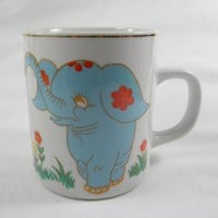 Gold Trim Mug Blue Elephant and Flowers by MugQuotes on Zibbet