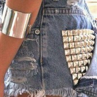 highwaisted vintage studded girls high fashion summer