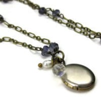 Iolite and Vintage Locket Necklace - leafandtendril.com