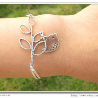 Adjustable Silver branches Bird Bracelet Cuff