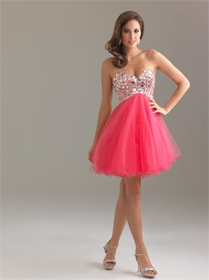 Strapless Sweetheart Sequin Chiffon Fuchsia Short Prom Dress PD0855