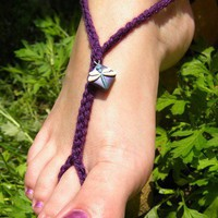 Royal Dragonfly Toekinis - cute blue and purple barefoot sandal | RaigeCreations - Crochet on ArtFire
