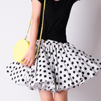 Sexy Black and White Polka Dot Cotton Pleated Skirt