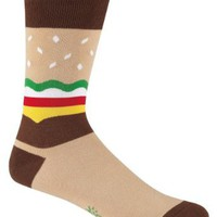 Sock It To Me BURGER Mens Crew Socks, Brown, One Size Fits Most