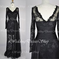 Long Sleeves V Neck Lace and Chiffon Black Long Evening Gown, Party Dresses, Formal Dresses