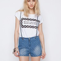 Denim quilted suspender shorts -Fashion -Super-Market