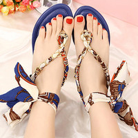 Flat Sandals with Satin Ribbon Tie 060501