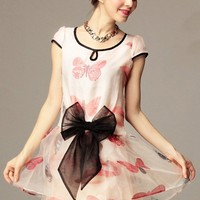 Sweet Butterfly Print Bowknot Dress - OASAP.com