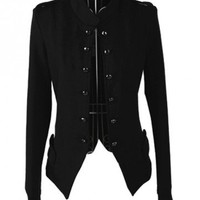 Indressme | Black Long Sleeve Stand Collar Double-Breasted Shoulder Mark Short Jacket style 00-0317503 only $29.80 .