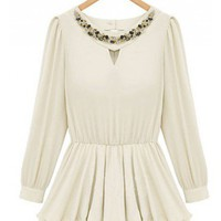 Indressme | Ruffles embroidered flare chiffon shirt style 336003 only $44.99 .