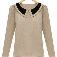 Indressme | Doll Collar Retro Beige Blouse  style 03-0300701 only $25.67 .