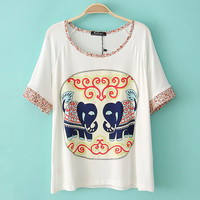 Elephant Loose T-shirt With Little Flowers Sleeves &Neck