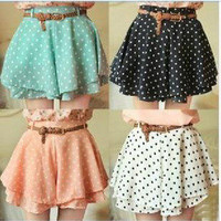 brilliant — 042921 Pleated Polka Dot Chiffon Divided Skirt Mini Dress Shorts culottes w/Belt