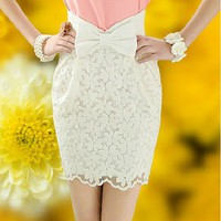 High Waisted Lace Bowknot Skirt