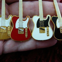 (M-223-B) Pick from 4 colors FENDER TELECASTER Electric guitar Pendant  NECKLACE