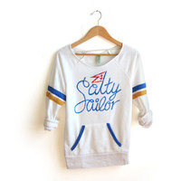 Salty Sailor - Hand STENCILED Deep Scoop Neck Heather Artist Series Sporty Stripe Sweatshirt in Cream Blue and Gold - S M L XL