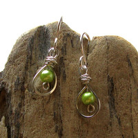 Lime green pearl earrings sterling silver dangle bride bridesmaids wedding party jewelry